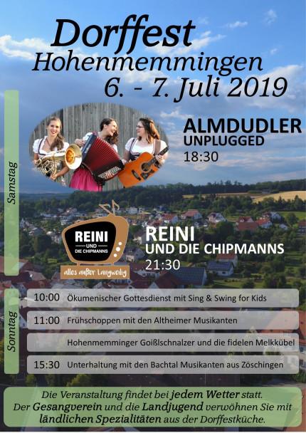 Plakat Dorffest Hohenmemmingen